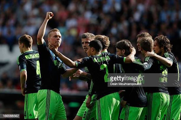 Kolbeinn Sigthorsson of Ajax celebrates scoring the first goal of the game towards the fans during the Eredivisie match between PSV Eindhoven and...