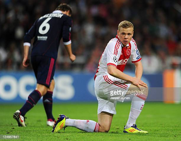 Kolbeinn Sigthorsson of Ajax reacts during the UEFA Champions League group D match between AFC Ajax and Olympique Lyonnais at the Amsterdam Arena on...
