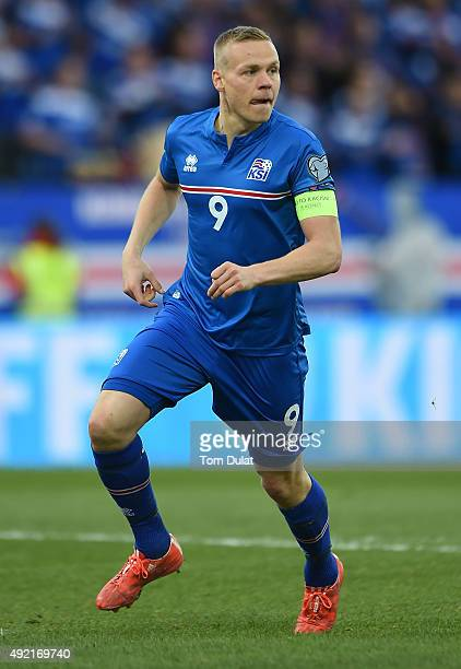 Kolbeinn Sigthorsson of Iceland in action during the UEFA EURO 2016 Qualifier match between Iceland and Latvia at Laugardalsvollur National Stadium...