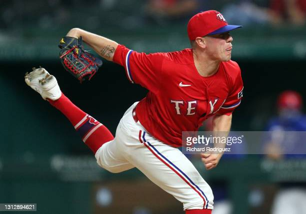 Kolby Allard of the Texas Rangers follows through on a pitch in the sixth inning against the Baltimore Orioles at Globe Life Field on April 16, 2021...