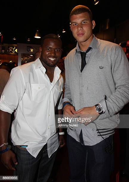 Kolby Smith and Blake Griffin attend the 2009 NBA PreDraft party at the New Era flagship store on June 23 2009 in New York City