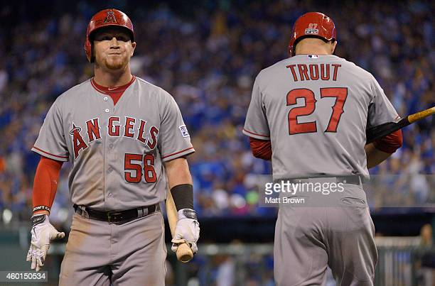 Kole Calhoun and Mike Trout of the Los Angeles Angels of Anaheim during game 3 of the American League Division Series against the Kansas City Royals...
