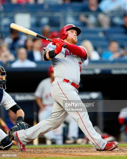 Kole Calhoun of the Los Angeles Angels bats in an MLB baseball game against the New York Yankees on June 21 2017 at Yankee Stadium in the Bronx...