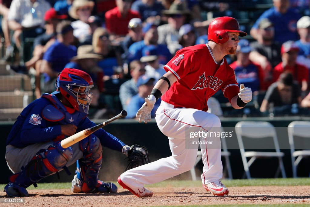 Kole Calhoun #56 of the Los Angeles Angels grounds out in the fourth inning against the Chicago Cubs during the spring training game at Tempe Diablo Stadium on March 6, 2017 in Tempe, Arizona.