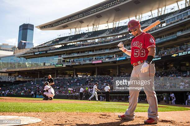 Kole Calhoun of the Los Angeles Angels looks on in the first game of a doubleheader against the Minnesota Twins on September 19 2015 at Target Field...