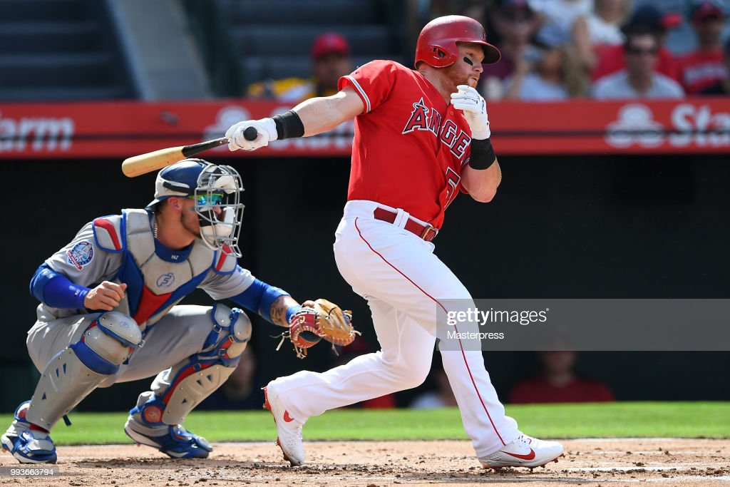 Kole Calhoun #56 of the Los Angeles Angels of Anaheim at bat during the MLB against the Los Angeles Dodgers at Angel Stadium on July 7, 2018 in Anaheim, California.