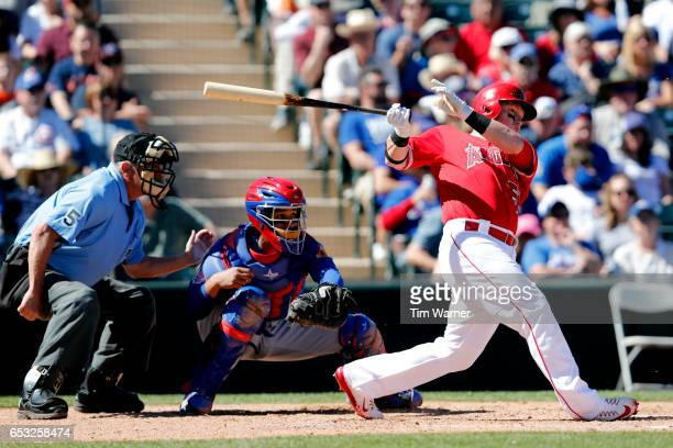 Kole Calhoun of the Los Angeles Angels of Anaheim bats against the Chicago Cubs during a spring training game at Tempe Diablo Stadium on March 06...