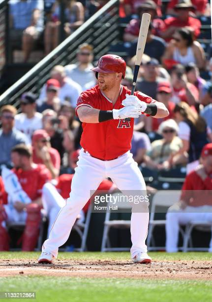 Kole Calhoun of the Los Angeles Angels of Anaheim gets ready in the batters box during a spring training game against the Kansas City Royals at Tempe...