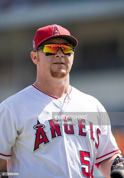 Kole Calhoun of the Los Angeles Angels of Anaheim heads to the dugout after the op of the second inning of during the game against the Houston Astros...