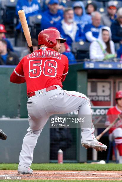 Kole Calhoun of the Los Angeles Angels of Anaheim lines up a first inning double during the game against the Los Angeles Angels of Anaheim at...