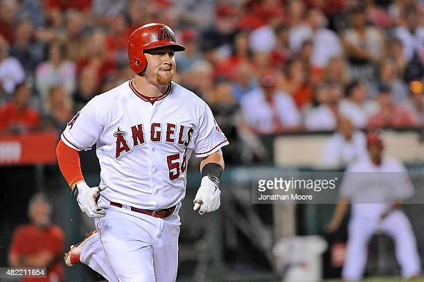 Kole Calhoun of the Los Angeles Angels of Anaheim on field during game two of a double header against the Boston Red Sox at Angel Stadium of Anaheim...