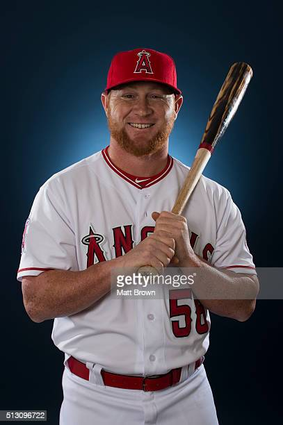 Kole Calhoun of the Los Angeles Angels of Anaheim poses for a portrait during photo day at spring training on February 26 2016 at Tempe Diablo...
