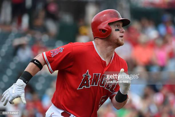 Kole Calhoun of the Los Angeles Angels of Anaheim runs to first base against the Cincinnati Reds at Tempe Diablo Stadium on March 5 2017 in Tempe...
