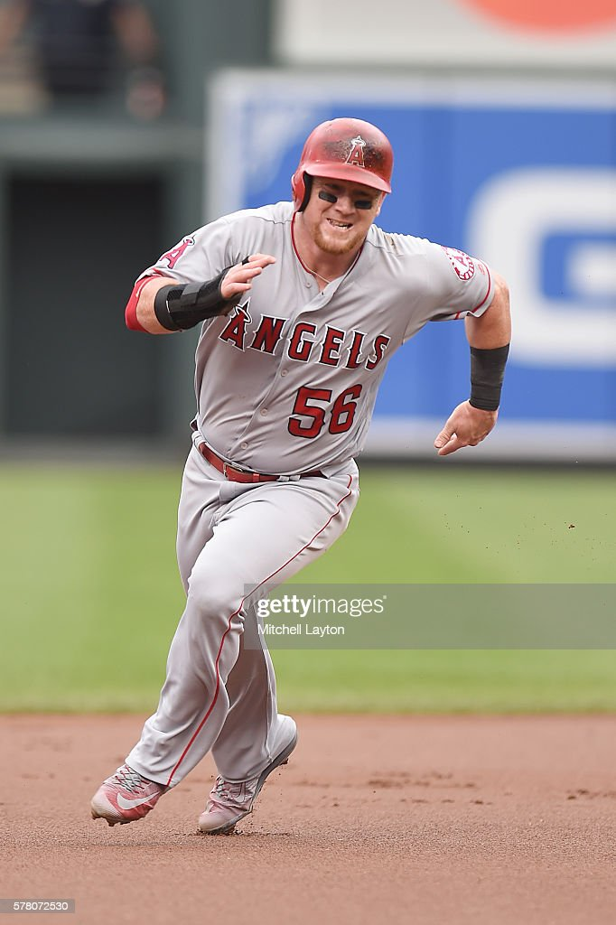 Kole Calhoun #56 of the Los Angeles Angels of Anaheim runs to third base during a baseball game against the Baltimore Orioles at Oriole Park at Camden Yards on July 10, 2016 in Baltimore, Maryland. The Orioles won 4-2.