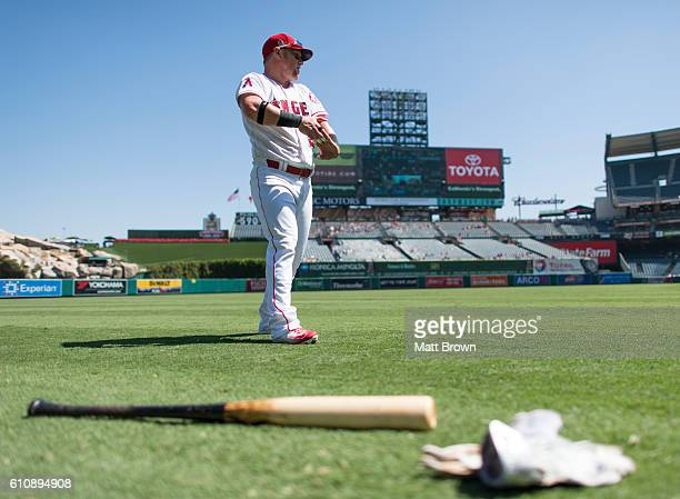 Kole Calhoun of the Los Angeles Angels of Anaheim stretches before the game against the Toronto Blue Jays at Angel Stadium of Anaheim on September 18...
