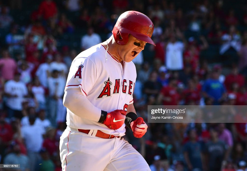 Kole Calhoun #56 of the Los Angeles Angels of Anaheim yells in frustration after he was out on a long fly ball in the ninth inning of the game against the Los Angeles Angels of Anaheim at Angel Stadium on April 22, 2018 in Anaheim, California.
