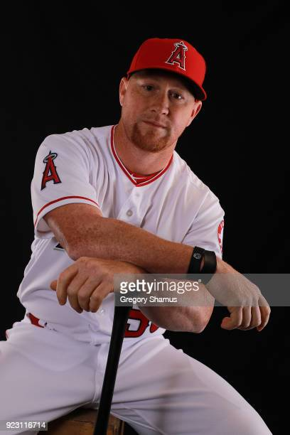 Kole Calhoun of the Los Angeles Angels poses during Los Angeles Angels Photo Day at Tempe Diablo Stadium on February 22 2018 in Tempe Arizona