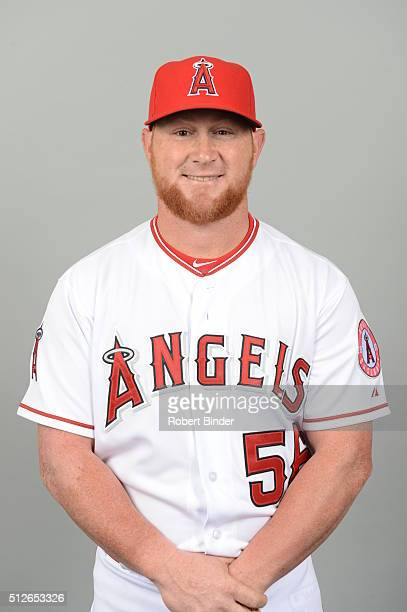 Kole Calhoun of the Los Angeles Angels poses during Photo Day on Friday February 26 2016 at Tempe Diablo Stadium in Tempe Arizona