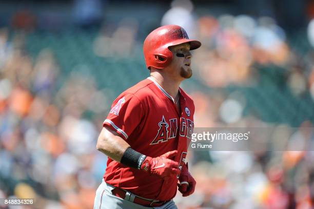 Kole Calhoun of the Los Angeles Angels rounds the bases against the Baltimore Orioles at Oriole Park at Camden Yards on August 20 2017 in Baltimore...