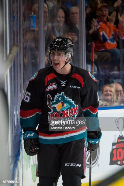 Kole Lind of the Kelowna Rockets celebrates a goal against the Victoria Royals at Prospera Place on October 4 2017 in Kelowna Canada
