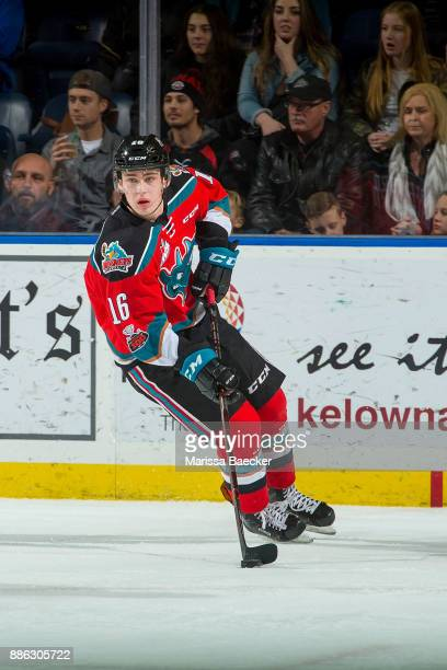 Kole Lind of the Kelowna Rockets skates from the behind the net with the puck against the Kootenay Ice on December 2 2017 at Prospera Place in...
