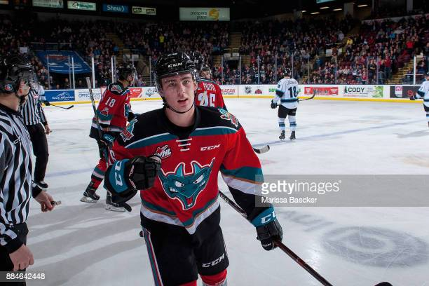 Kole Lind of the Kelowna Rockets skates to the bench to celebrate a third period goal against the Kootenay Ice on December 2 2017 at Prospera Place...