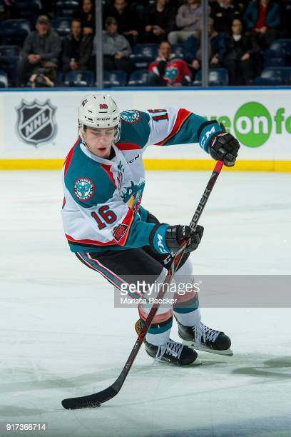 Kole Lind of the Kelowna Rockets skates with the puck against the Vancouver Giants at Prospera Place on February 7 2018 in Kelowna Canada