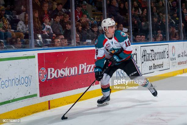 Kole Lind of the Kelowna Rockets skates with the puck at the boards against the TriCity Americans at Prospera Place on January 3 2017 in Kelowna...