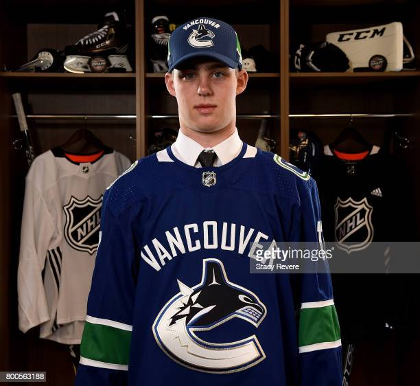 Kole Lind poses for a portrait after being selected 33rd overall by the Vancouver Canucks during the 2017 NHL Draft at the United Center on June 24...
