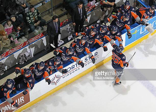 Kole Sherwood of the Flint Firebirds celebrates a goal against the London Knights during an OHL game at Budweiser Gardens on December 4 2016 in...
