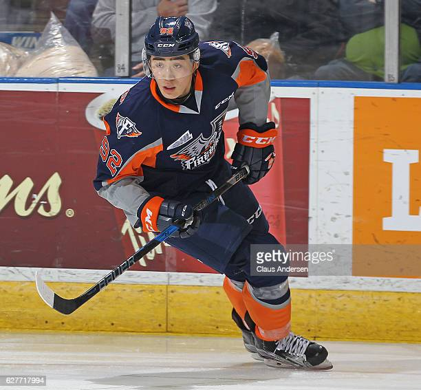 Kole Sherwood of the Flint Firebirds skates against the London Knights during an OHL game at Budweiser Gardens on December 4 2016 in London Ontario...