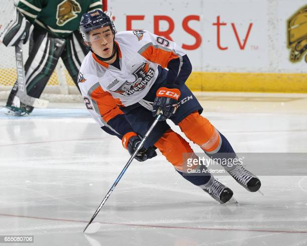 Kole Sherwood of the Flint Firebirds skates against the London Knights during an OHL game at Budweiser Gardens on March 17 2017 in London Ontario...