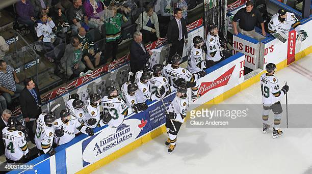 Kole Sherwood of the London Knights celebrates a goal against the Kingston Frontenacs during an OHL game at Budweiser Gardens on September 26 2015 in...