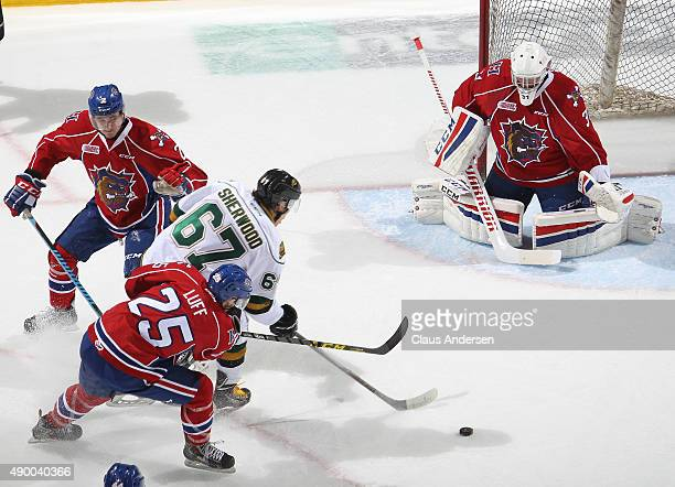 Kole Sherwood of the London Knights gets set to fire a shot at Charlie Graham of the Hamilton Bulldogs in an OHL game at Budweiser Gardens on...