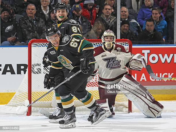 Kole Sherwood of the London Knights grimaces after blocking a shot against the Peterborough Petes during an OHL game at Budweiser Gardens on January...