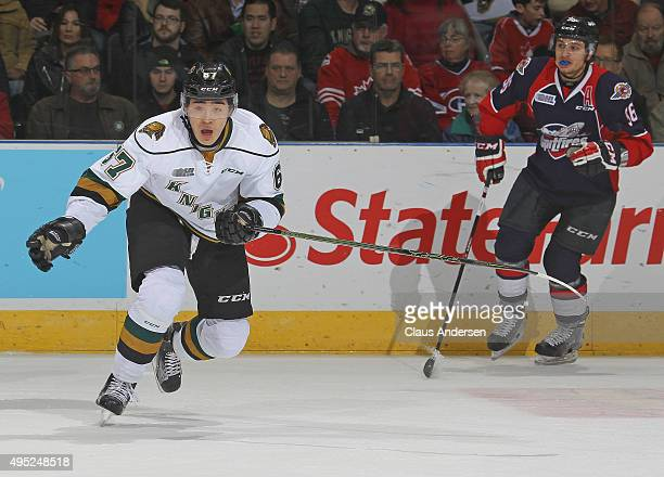 Kole Sherwood of the London Knights skates against the Windsor Spitfires during an OHL game at Budweiser Gardens on October 30 2015 in London Ontario...