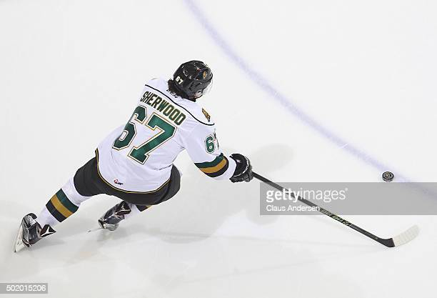 Kole Sherwood of the London Knights skates with the puck against the Guelph Storm during an OHL game at Budweiser Gardens on December 18 2015 in...
