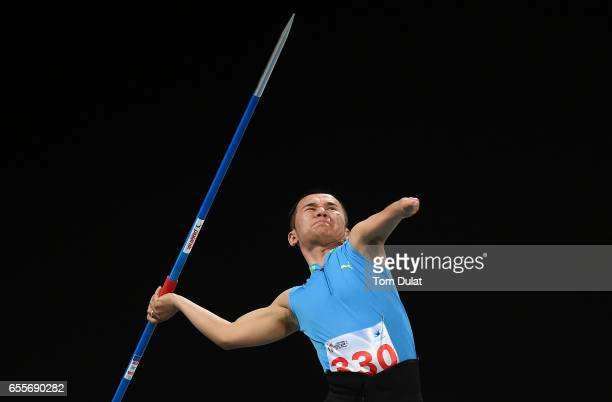 Kolganat Bakbergen of Kazakhstan competes in Javelin Men final during the 9th Fazza International IPC Athletics Grand Prix Competition World Para...