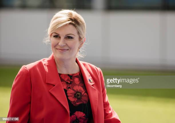 Kolinda Grabar Kitarovic Croatia's president arrives at the North Atlantic Treaty Organization summit at the military and political alliance's...