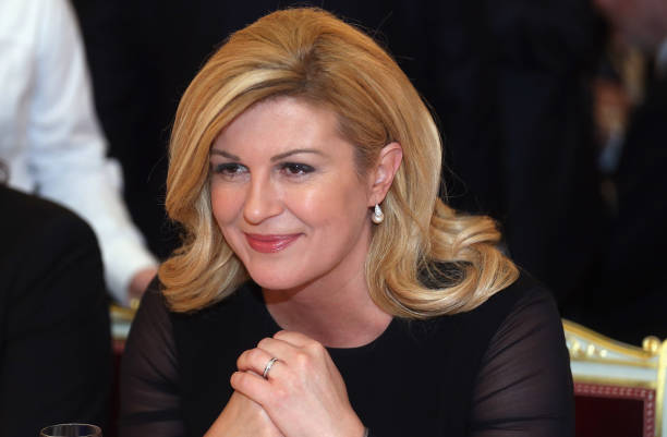 Kolinda Grabar Kitarovic, president of Croatia looks on during a reception at Munich royal residence during the 2017 Munich Security Conference on...