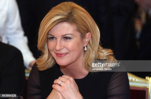 Kolinda Grabar Kitarovic president of Croatia looks on during a reception at Munich royal residence during the 2017 Munich Security Conference on...