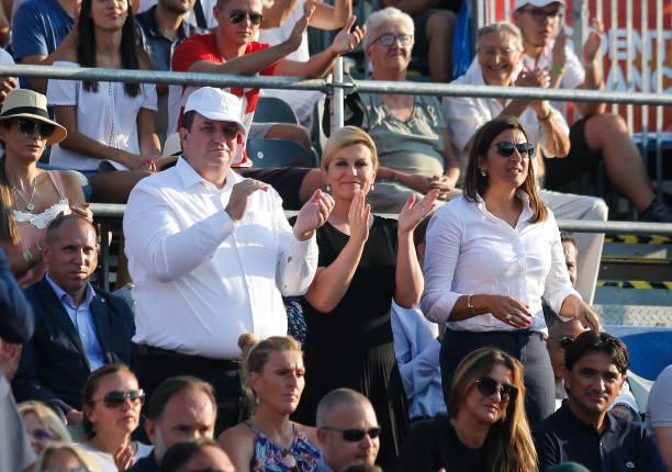 Kolinda Grabar Kitarovic the President of Croatia and her husband Jakov Kitarovic during day two of the Davis Cup World Group semi final doubles...