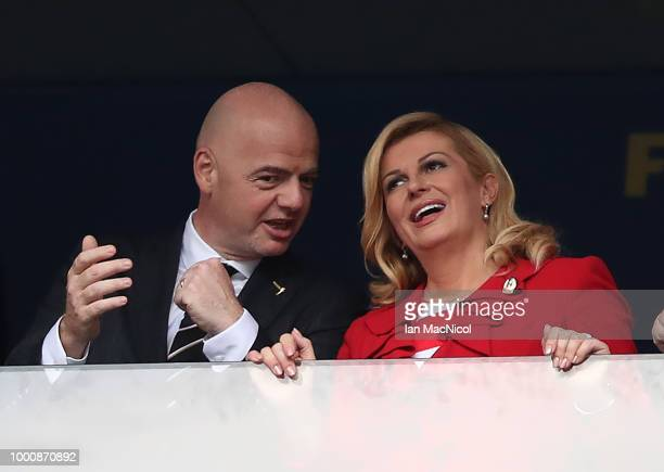 Kolinda GrabarKitarovic and Gianni Infantino are seen during the 2018 FIFA World Cup Russia Final between France and Croatia at Luzhniki Stadium on...