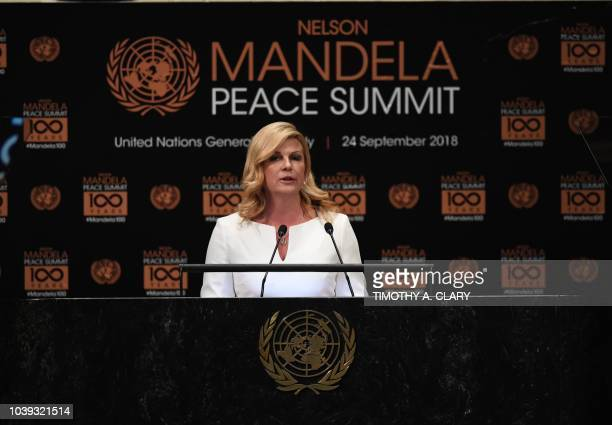 Kolinda GrabarKitarovic President of Croatia addresses the Nelson Mandela Peace Summit September 24 2018 a day before the start of the General Debate...