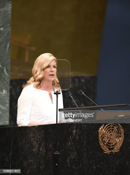 Kolinda GrabarKitarovic President of Croatia addresses the Nelson Mandela Peace Summit September 24 2018 a day before the start of the General Debate...