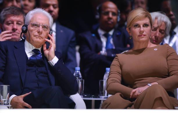 Kolinda Grabar-Kitarovic, President of Croatia, and Sergio Mattarella, President of Italy, during the opening session of the Paris Peace Forum, an...