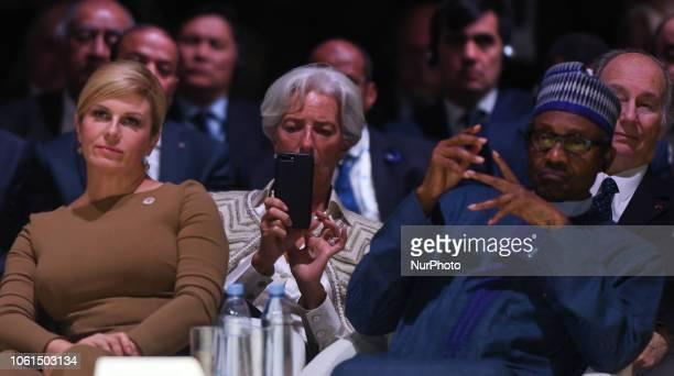 Kolinda GrabarKitarovic President of Croatia Christine Lagarde the Managing Director and Chairwoman of the International Monetary Fund and Idriss...