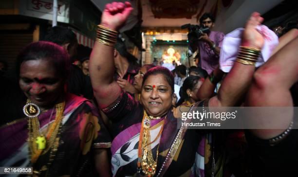 Koliwomens celebrates at Lalabaug Raja procession on Ganpati immersion day in Mumbai