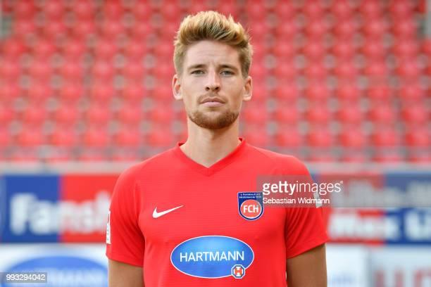Kolja Pusch of 1 FC Heidenheim poses during the team presentation at VoithArena on July 6 2018 in Heidenheim Germany
