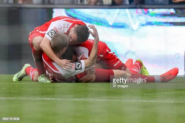 Kolja Pusch of Jahn Regensburg celebrates after scoring his team`s first goal during the Second Bundesliga Playoff second leg match between TSV 1860...
